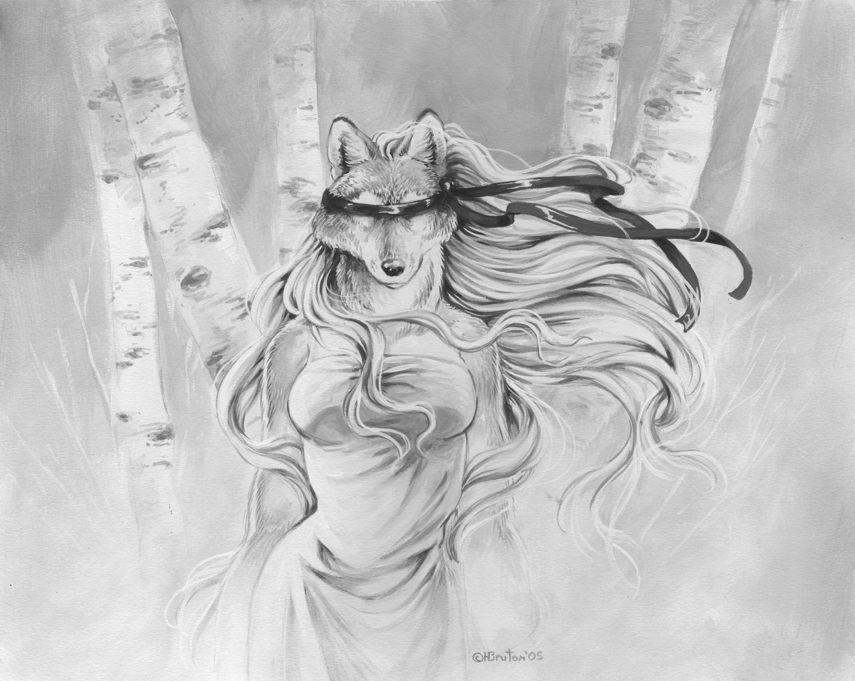 Чёрная фурри волчица 8 фотография